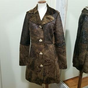 True Grit Brown Faux Fur Rose Embossed Coat XS